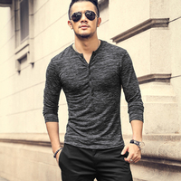 Men Long Sleeve T Shirt 2018 Spring And Autumn Slim Casual Henley Shirt England Style Female