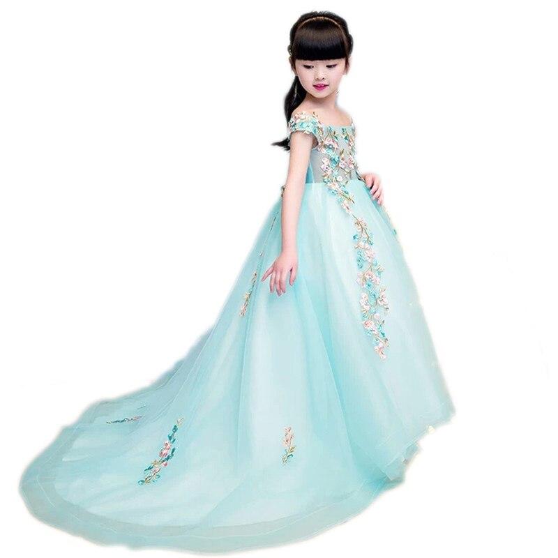2018 Girls Luxury Dress Children Embroidery Flowers Princess Shoulderless  Dress Girls Wedding Birthday Party Trailing Dress 00705fdc4776