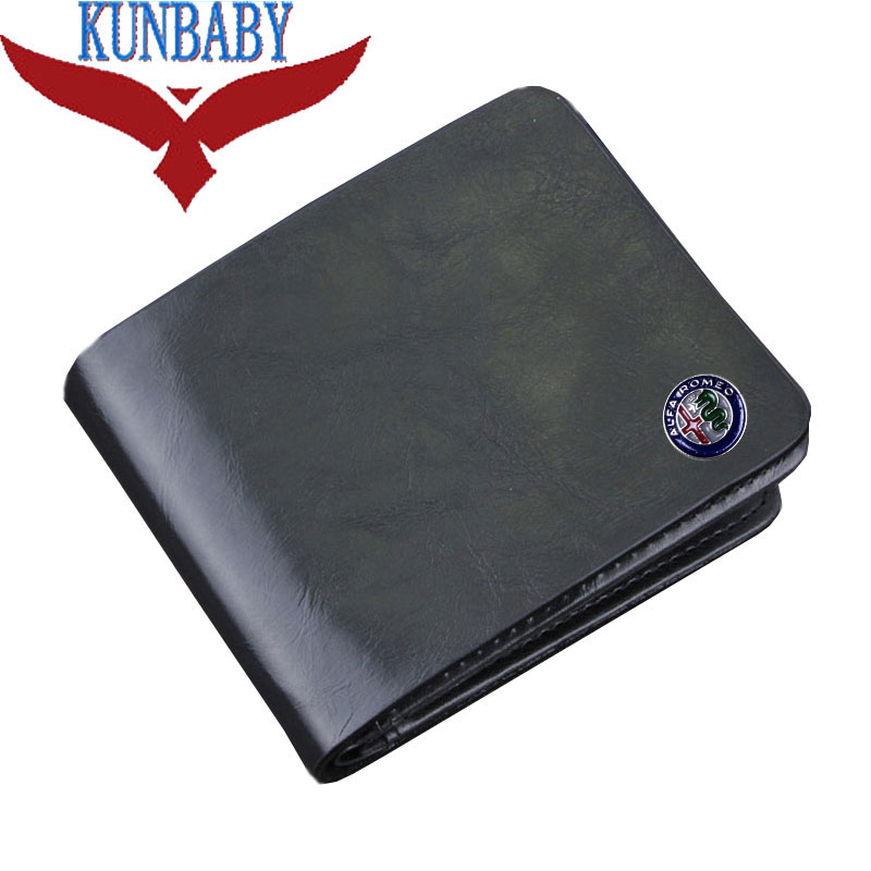 KUNBABY Top Quality Genuine Leather Black Document Bag Wallet Card Package Coin Holder Case For Alfa Romeo