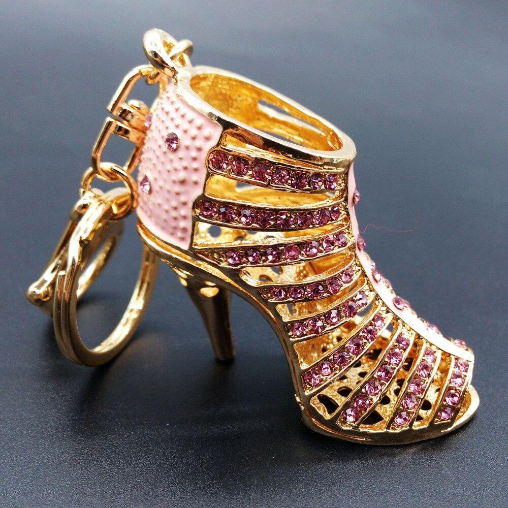 Bag Pendant Creative Rhinestones Alloy Key Chain Ring Keyring Metal Keychain Adjustable High heel Shoes Keyrings Keychains se203