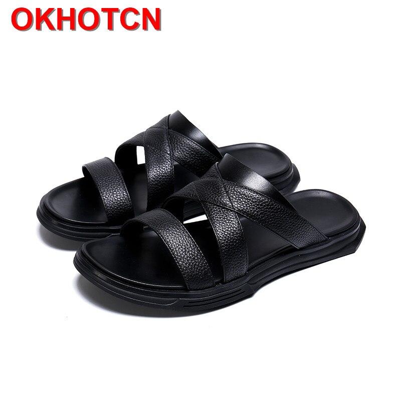 Cow Leather Slippers Men Platform Beach Shoes Casual Summer Rubber Sandals Men Cross Strap Slides Fashion Nice Flip Flops Black