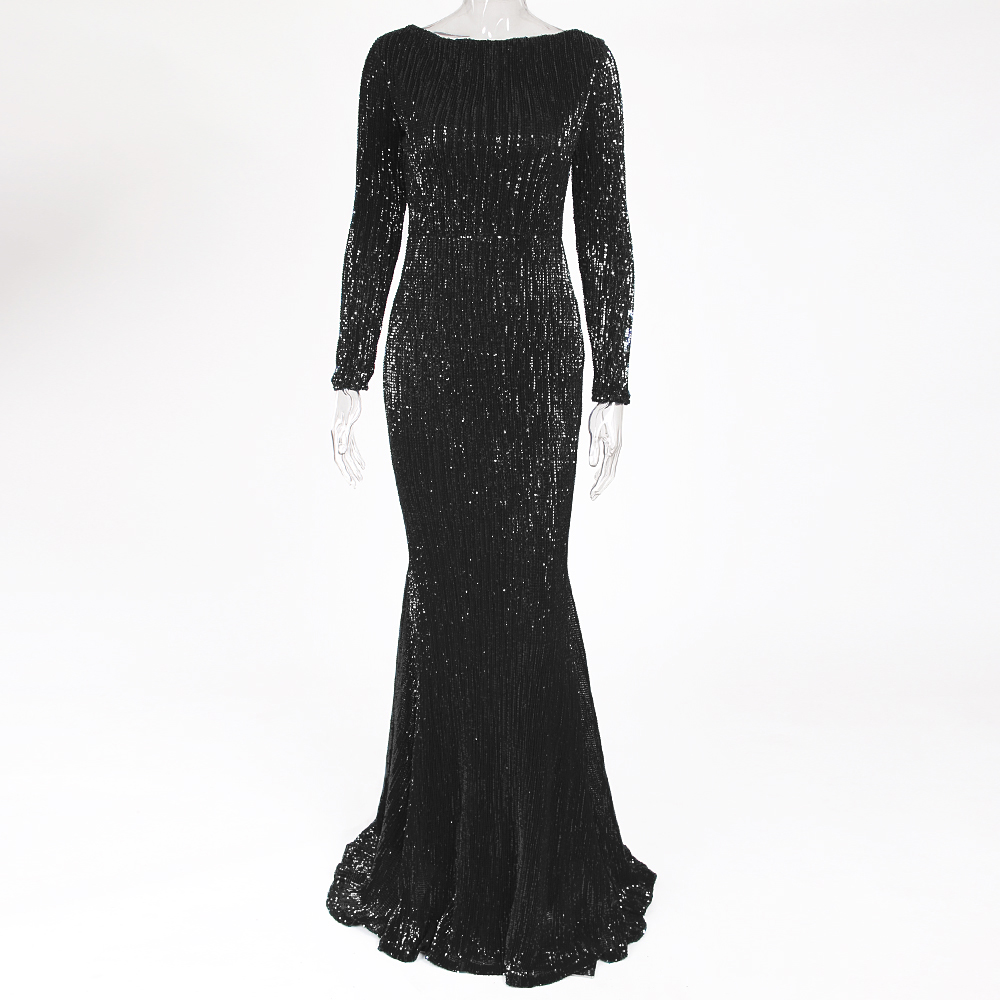 Image 4 - Stretchy Sequined Night Party Dress Floor Length O Neck Full Sleeved Maxi Dress Champagne Gold Navy Black Green-in Dresses from Women's Clothing
