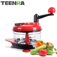 TEENRA Fruit Vegetable Chopper Manual Stainless Steel Meat Grinders Garlic Cutter Hand Vegetable Chopper Slicer Kitchen Tools
