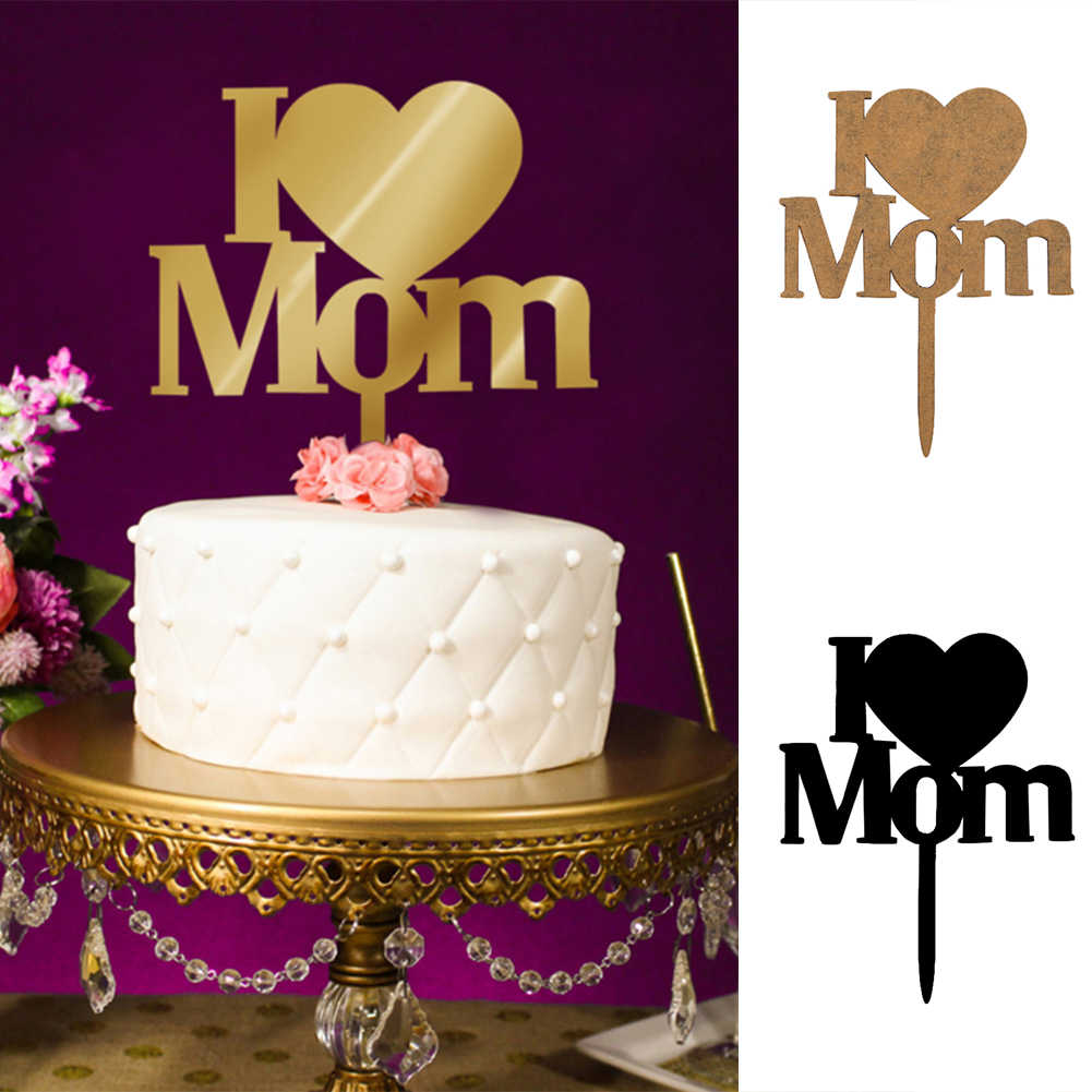 Groovy I Love Mom Black Gold Parents Birthday Cake Flags Mothers Day Funny Birthday Cards Online Inifofree Goldxyz