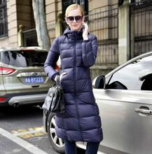 Black blue silver  thin down coat female ultra slim over-the-knee long duck down jacket women hood down outerwear winter coat