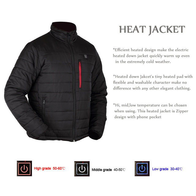 ff0906673a3 2018 Winter Electric Heated Jacket Men Women Heating Jacket For Trekking  Camping Hiking Windproof Thermal Ski Coats