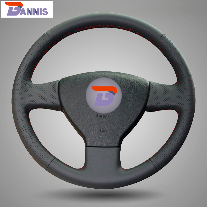 BANNIS Black Artificial Leather Hand stitched Steering Wheel Cover for for Volkswagen Old VW Golf Polo