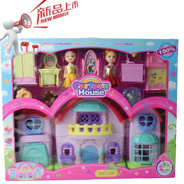 plastic dollhouse furniture sets. Miniature Girls Dream House With Dolls Pet Gog Furniture Set Lamp Music Plastic Doll Kit Dollhouse Sets