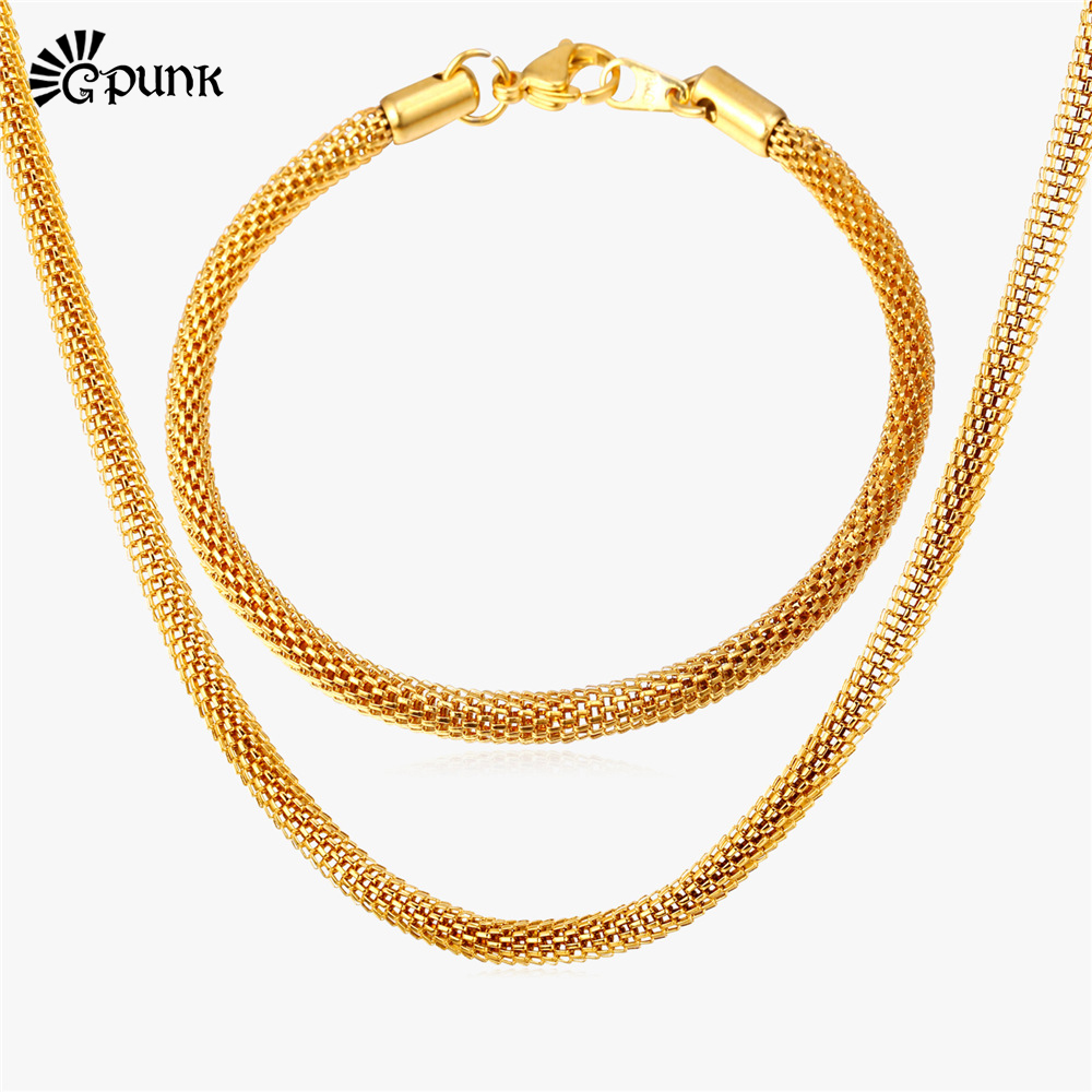 Net Chain Men Necklaces Bracelet Jewelry Set yellow Gold
