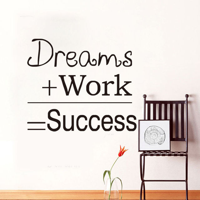 Dreams Work Success Quote Wall Sticker Motivational Home Room Office Wall  Decal Q039 Free Shipping