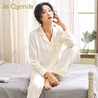 J&Q 2019 Spring Solid Women Pajama Set Lapel Cardigan Cotton Pyjama Plus Size Home Wear Women Sleeping Suit Fashion Sleepwear