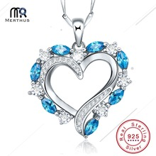 Heart Style 1.49ct London Blue CZ Necklace Pendant Silver 925 Sterling Romantic Jewelry Accessories Free Shipping(China)