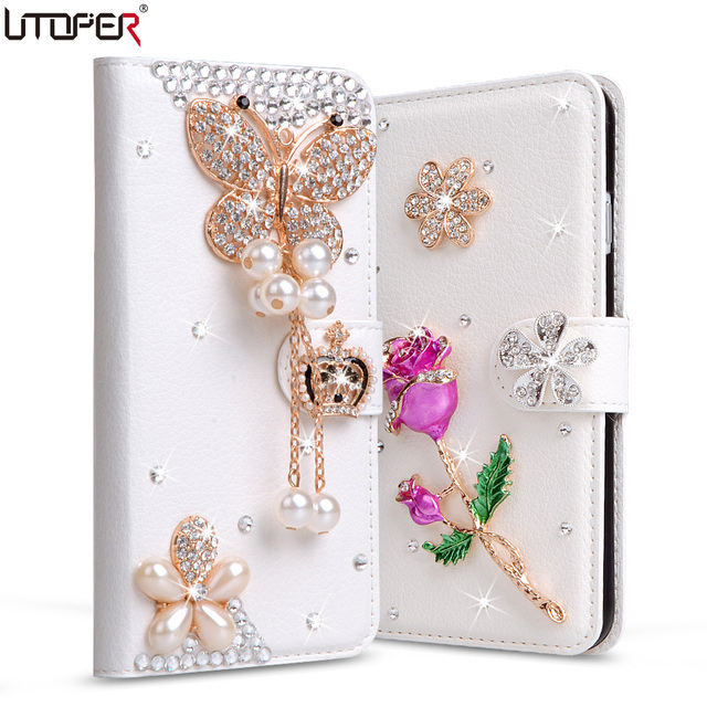 For Huawei ALE-L21 Rhinestone Case Handmade Leather Phone Cover For HUAWEI Ascend P8 Lite P8 Mini Card Slots + Stand Flip Wallet