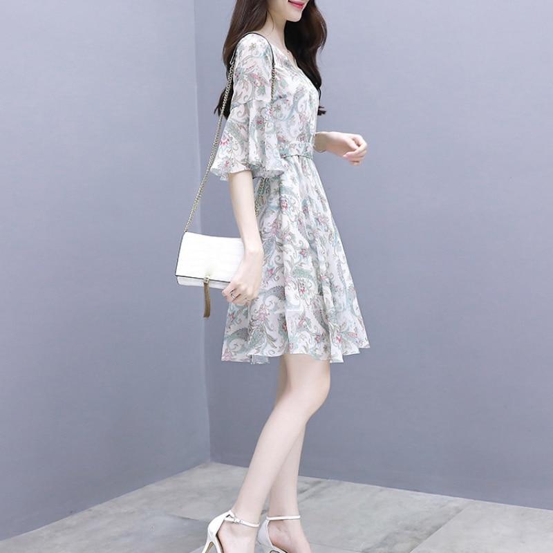 2019 New Sweet Slim Thin Floral Temperament Dress Bell Sleeves Chiffon Dresses