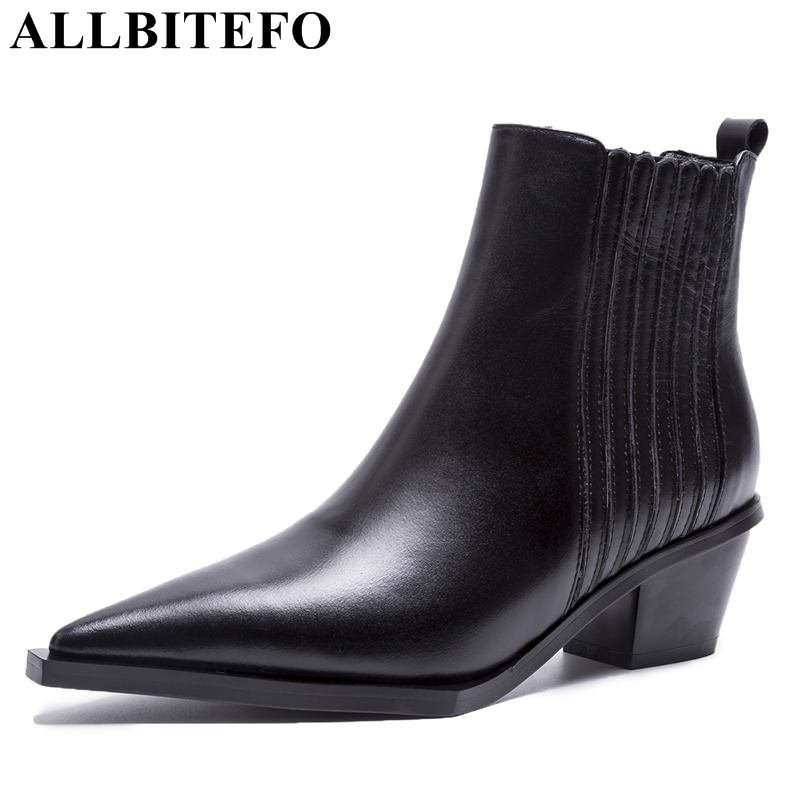 ALLBITEFO genuine leather pointed toe thick heel women boots fashion brand high heels ankle boots martin boots winter shoes стоимость