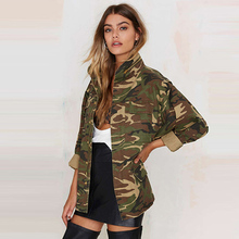 New Military Women Jacket Zipper Button Outwear Coats Female Vintage Army Green Camouflage Jackets Women Blouses 06022216
