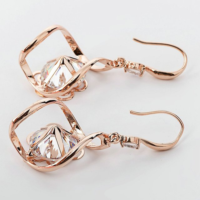 Flower Cubic Zircon Crystal Earrings