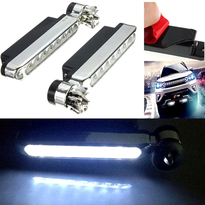 2pcs Wind Power 8 LED Car DRL Daytime Running Light Fog Head Lamp Bulb White 12V
