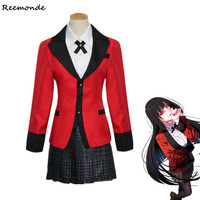 Anime Kakegurui Jabami Yumeko Cosplay Costumes Jacket T shirt Skirt School Uniform Full Sets For Women Girls Halloween Clothes