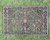 Cast Iron Decorative Door Mat Scroll Flower Outdoor Doormat Rectangular Brown Garden Yard Patio Courtyard Accessories Metalcraft
