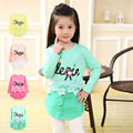 2017 Children Spring and Autumn cotton T Shirts Clothing Full Sleeve embroidery flowers lace 2-7Years cute girls four colors