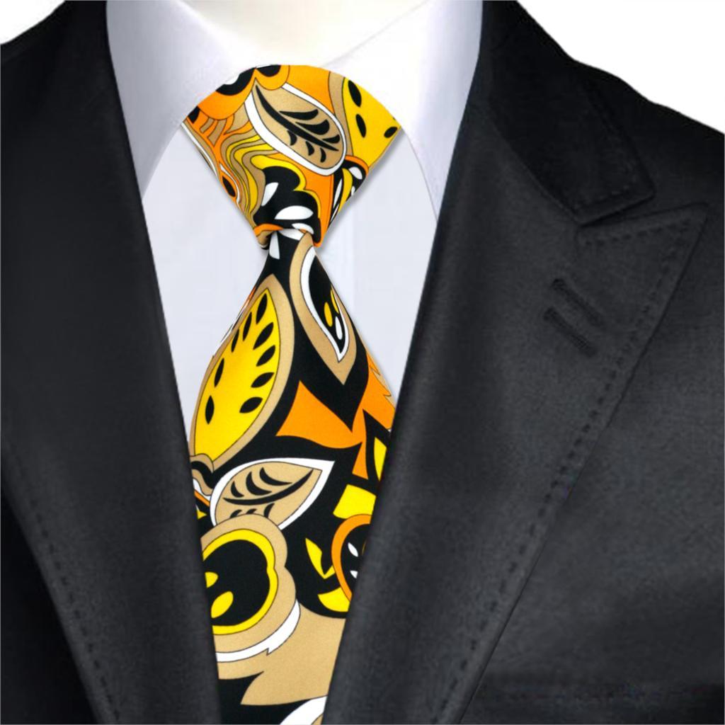 Haben Sie Einen Fragenden Verstand Fashion Designer Mens Ties Druckes Silk Gravatas Krawatten Gelb Orange Schwarz Krawatten Für Männer Hochzeit Anzug Corbata A-1276 Um Jeden Preis