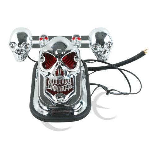Chrome Skull Skeleton Rear Tail Light Mount Plate w/ Signals for Honda Shadow VT freeshipping black skull skeleton mirrors for honda cb cbr rebel shadow magna vt vtx cruiser