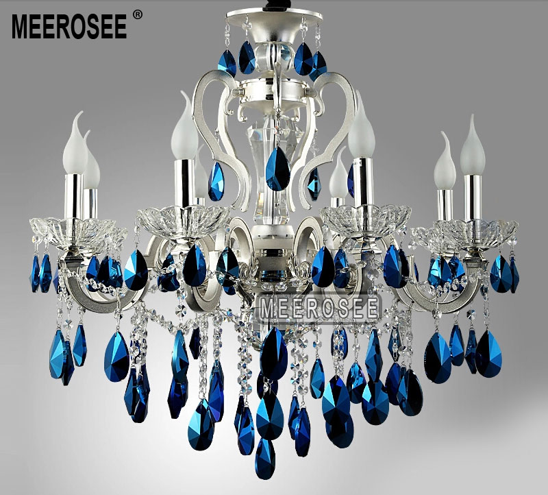 Modern Silver Crystal Chandelier Light Blue Re Suspension Hanging Lamp Fixture For Foyer Lobby Md8453 L8