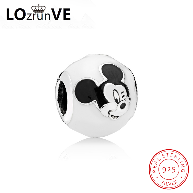 original S925 sterling silver charm cute mickey expression fashion DIY jewelry bracelet bead women wholesale factory