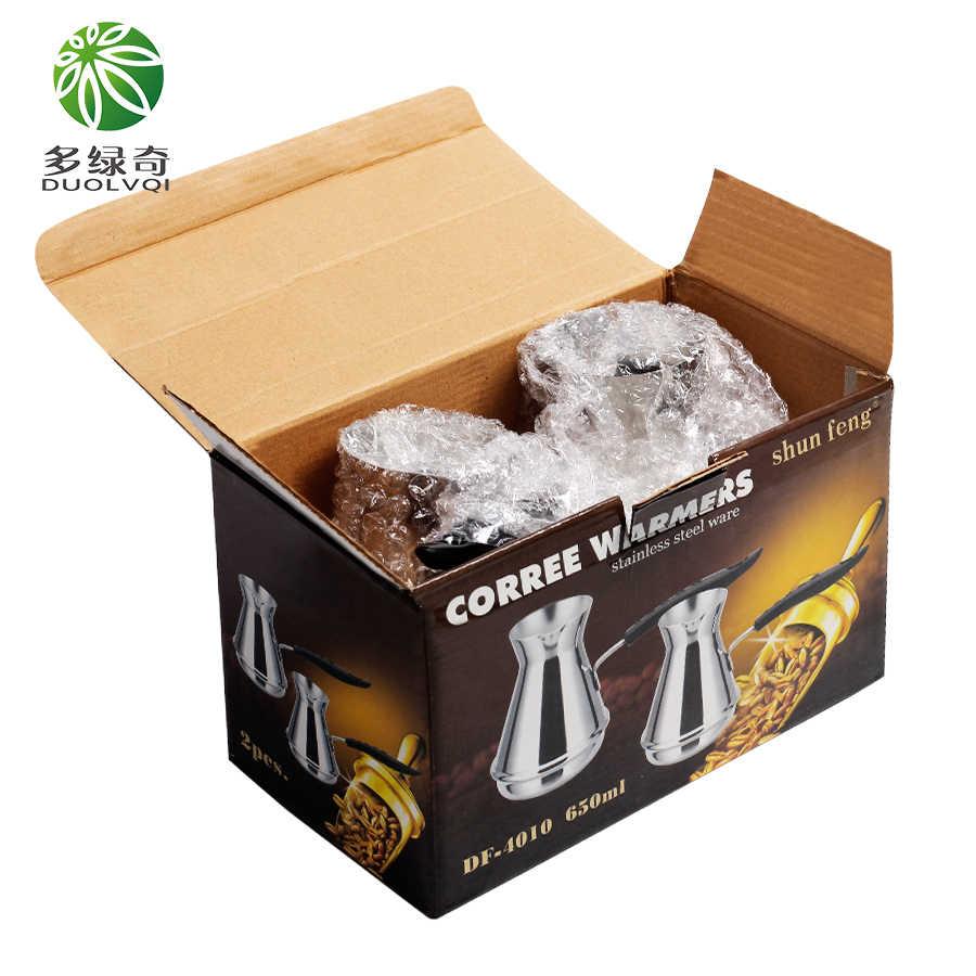 DUOLVQI 2 pz Caffè Pentola Per La Casa del caffè Turco pentola Portatile Mini Macchina per il Caffè Manuale Goosenck Beccuccio Bollitore con box