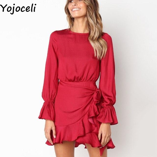 6e80b47eee Yojoceli Sexy ruffle wrap elegant party dress women vestidos Autumn winter casual  daily dress Red short cute mini dress female