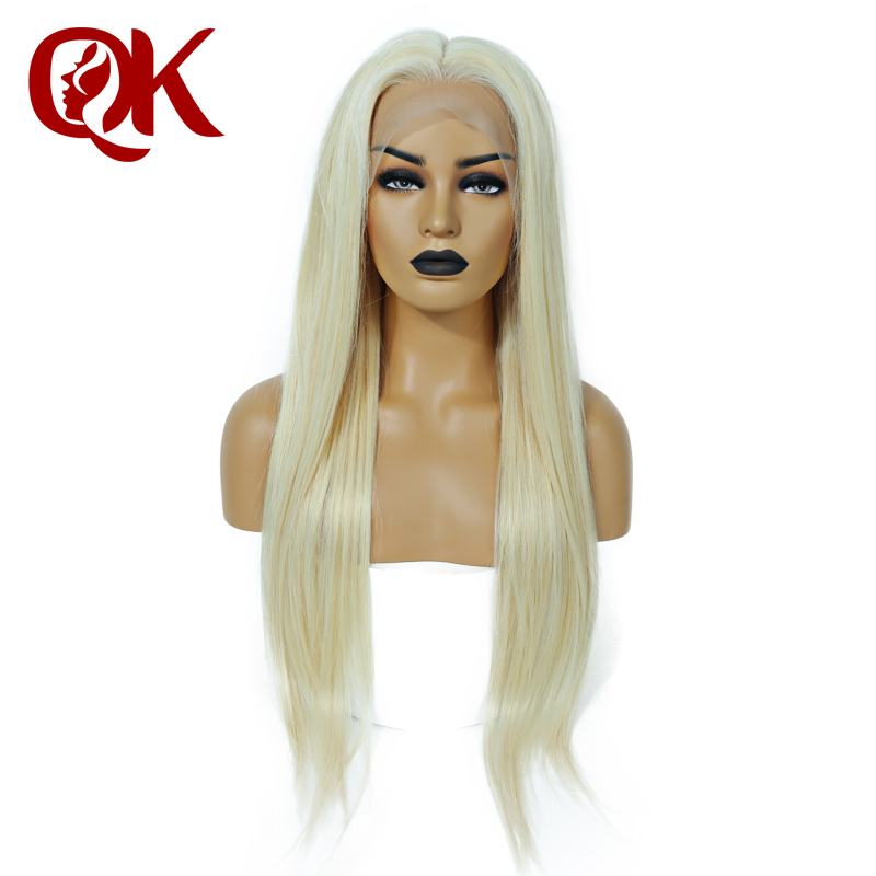 QueenKing hair Full Lace Wig 150 Density Blonde 613 Silky Straight Preplucked Hairline 100 Brazilian Human