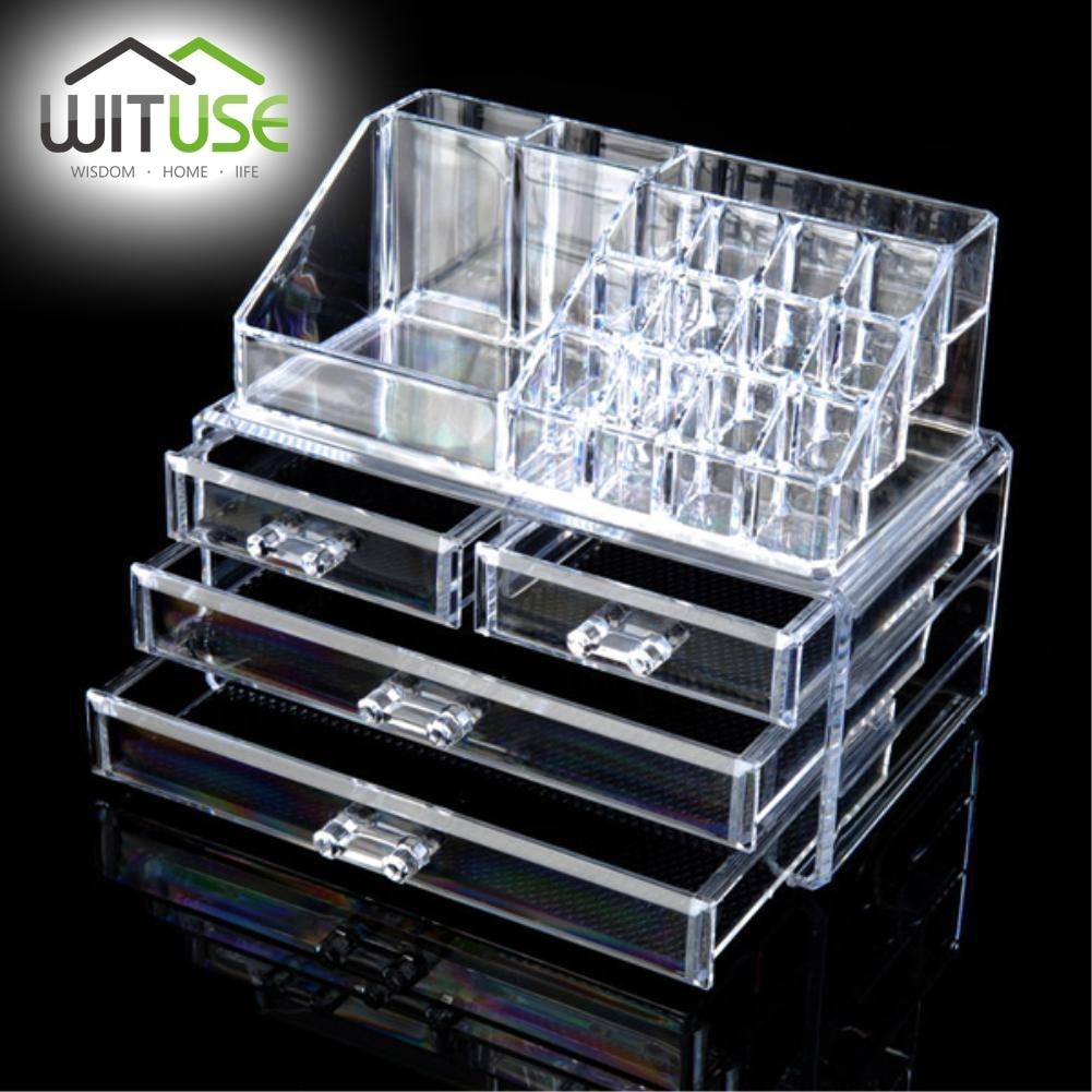 WITUSE Cosmetic Organizer Drawers Desk Jewelry Organizer Acrylic Chest  Makeup Lipstick Storage Box Makeup Case Lipstick Holder