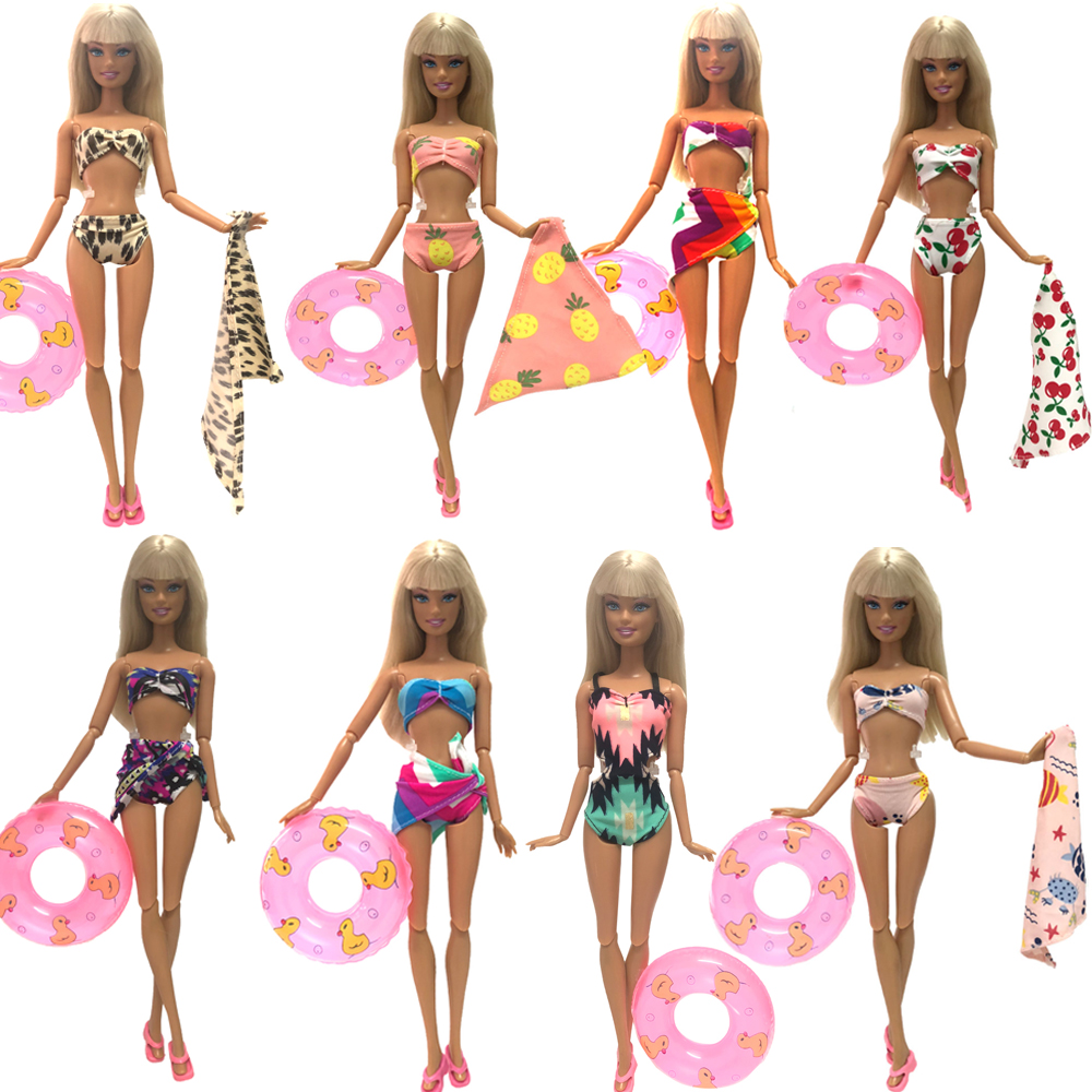 NK One Set Swimwear Beach Bathing Swimsuit Slippers Swimming Buoy Lifebelt  Ring For Barbie Doll Accessories  Best Girl' Gift JJ