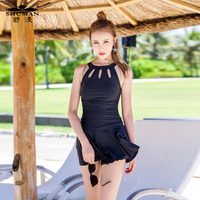 The Female Swimsuit Siamese Skirt Boxer Conservative Small Chest Belly Thin Cover Gather Size Sexy Dress
