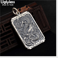 Uglyless Real 999 Full Silver Dragon Pendants Necklaces NO Chain Asian Ethnic Totem Dragons Thai Silver Square Pendant Mantra