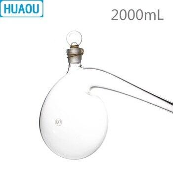 HUAOU 2000 ml 2L Retorta com Terra-na Rolha De Vidro Borossilicato 3.3 De Destilação De Vidro Balão De Destilação de Laboratório de Química