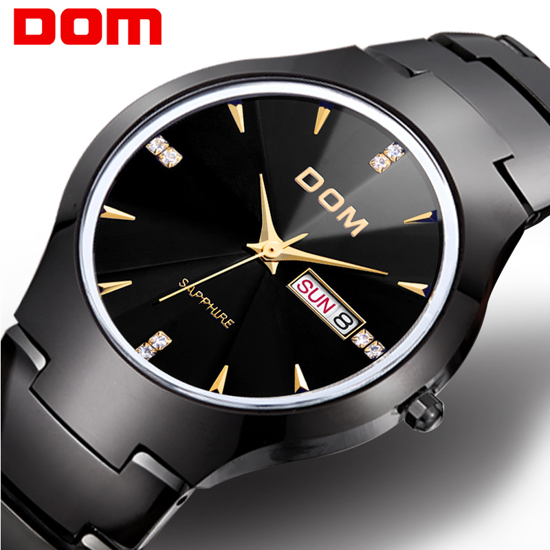 Men watch DOM tungsten steel Business Quartz Top Brand sport Luxury Wrist 30m waterproof watches Fashion Casual W-698GK-1M2 new original hf sp152 1 5kw 2000r min ac servo motor