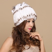 Lady New Rex Rabbit Hair Hat Female Princess Vertical Striped Round Cap Thickened Wool Flower Cluster Winter Lady Fur Hat B 8607