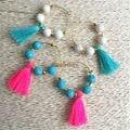 E16060701 Turquesa Perlas Grandes Pendientes de Aro Para Las Mujeres Pequeños Pendientes de La Borla de Algodón