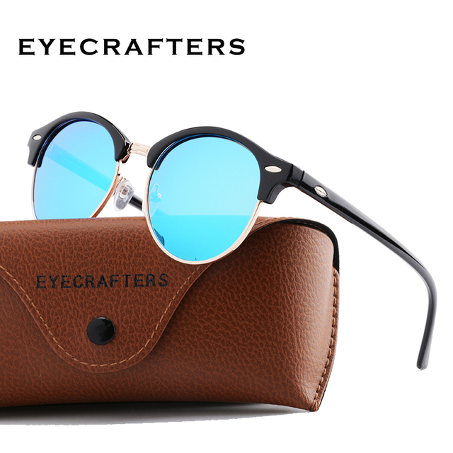 f053773ec4 New Retro Brand Designer Club Round Sunglasses Polarized Women Men Half  Frame Mirrored Polaroid Vintage Sun