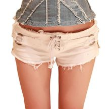 Skinny Zipper Shorts Women Sexy Lace Up Pole Dance Jeans Bar Shorts Micro Denim Ultra Low Waist Jeans Clubwear Cortos Mujer A177 eyelet lace up skinny empire jeans