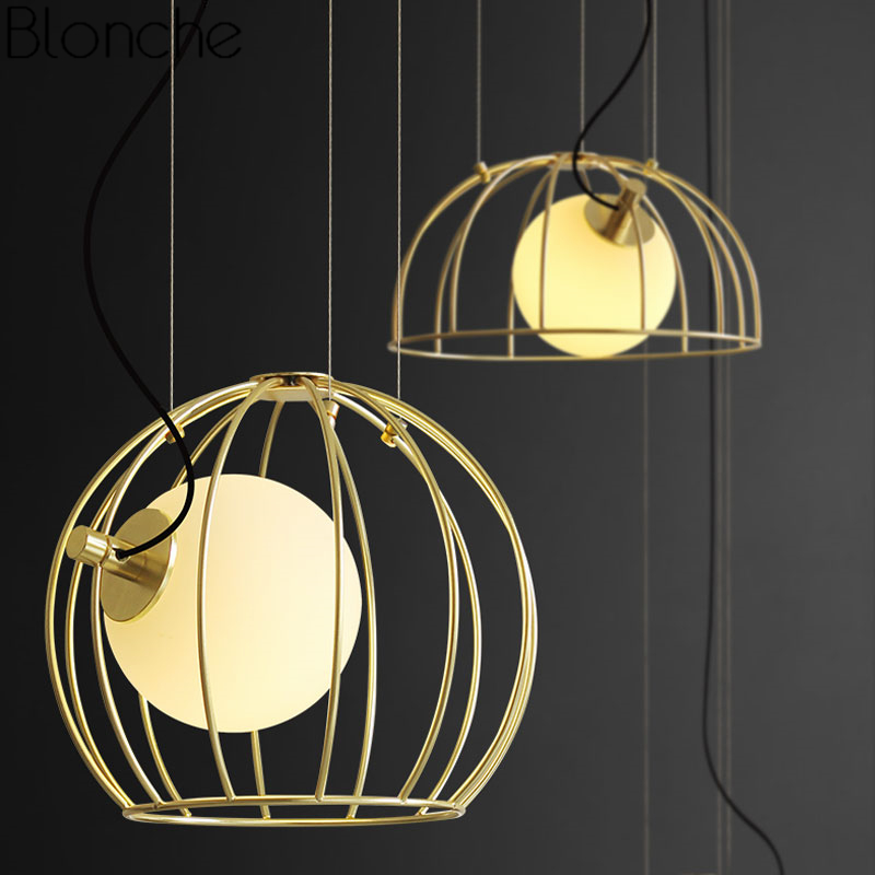 Post-modern Gold Cage Pendant Lights for Dining Room Kitchen Industrial Home Decor Glass Ball Led Hanging Lamp Lighting FixturesPost-modern Gold Cage Pendant Lights for Dining Room Kitchen Industrial Home Decor Glass Ball Led Hanging Lamp Lighting Fixtures