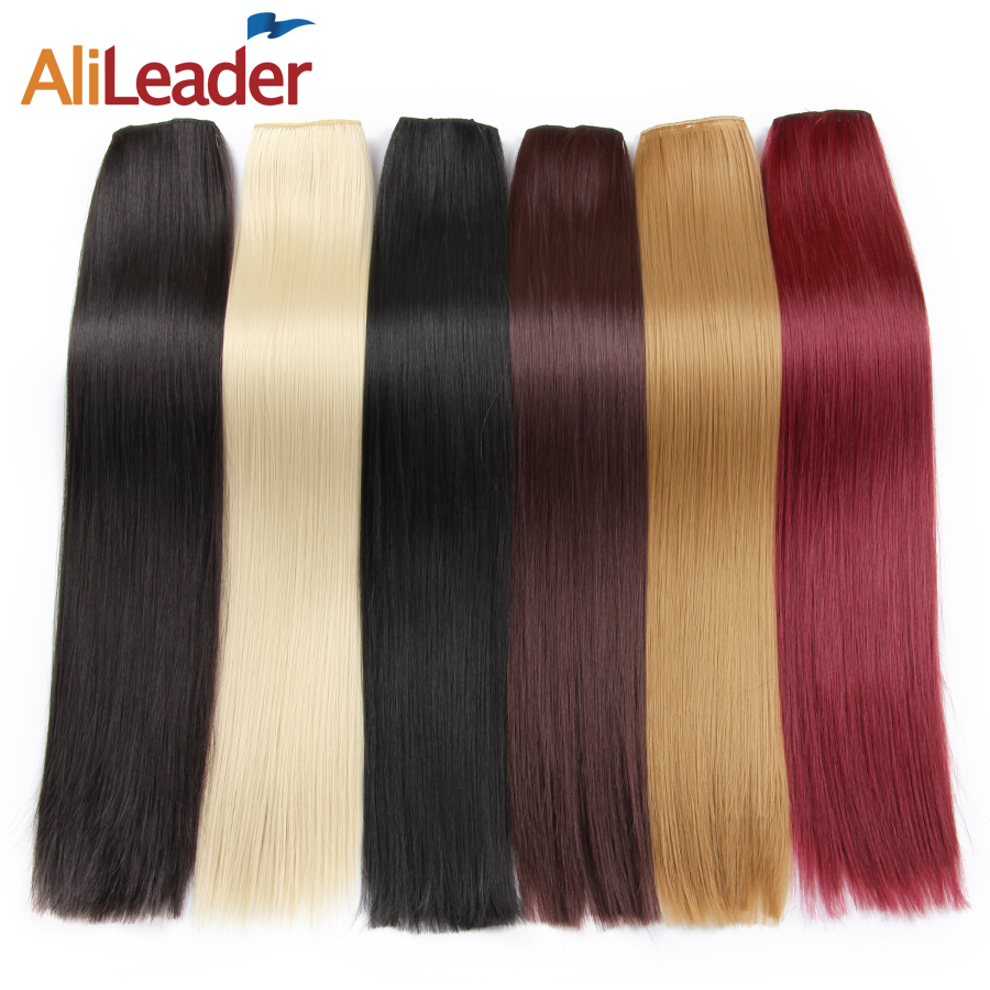 Alileader Long Straight Hair 22 Inch Women 5 Clip In Hair Extensions Dark And Light Brown Black Synthetic Hair Clips One Piece