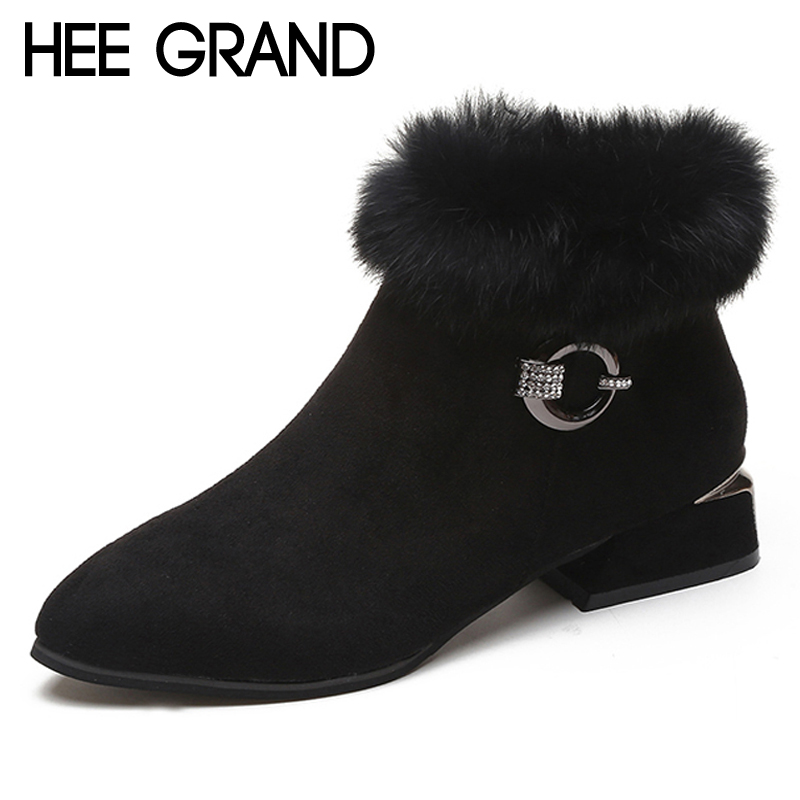 HEE GRAND Faux Fur Women Ankle Boots 2019 Winter Suede High Heels Boots Ladies Fashion Gladiator Pionted toe Shoes Woman XWX6839 enmayla autumn winter chelsea ankle boots for women faux suede square toe high heels shoes woman chunky heels boots khaki black