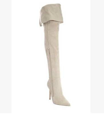fashionable elegant creamy-white concise design celebrity style over-the-knee high-heeled pointed toe boots
