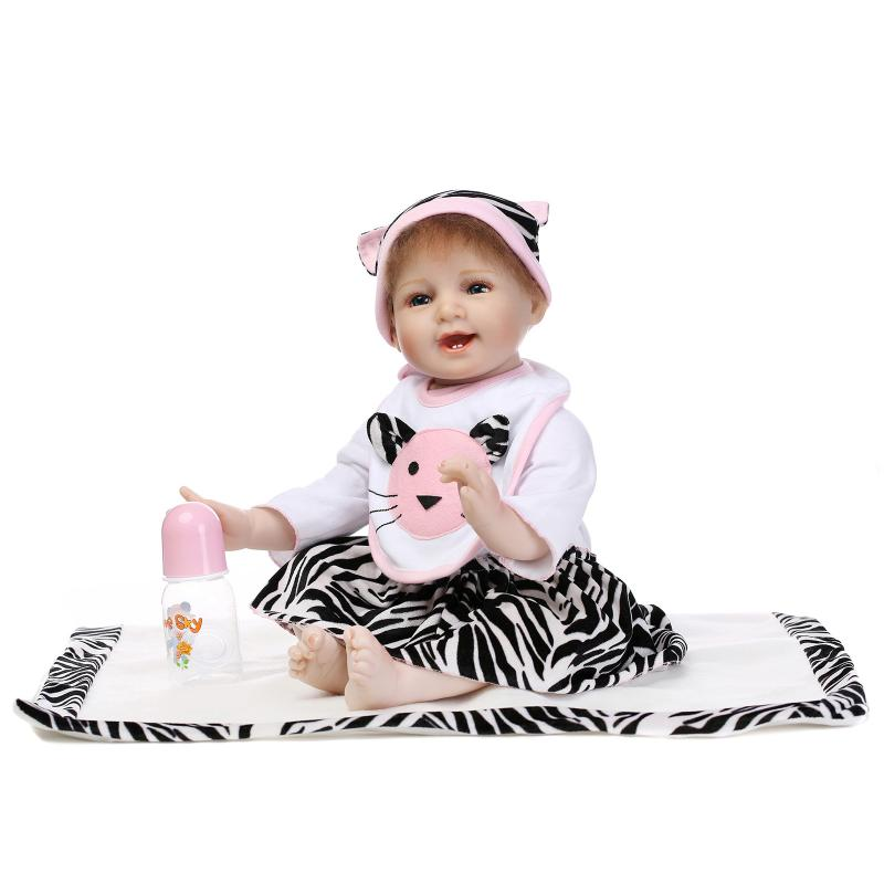 55cm Doll Reborn Babies Silicone cute Lifelike Realistic Baby girl Dolls Kids bebe birth reborn bonecas with clothes and bottle55cm Doll Reborn Babies Silicone cute Lifelike Realistic Baby girl Dolls Kids bebe birth reborn bonecas with clothes and bottle
