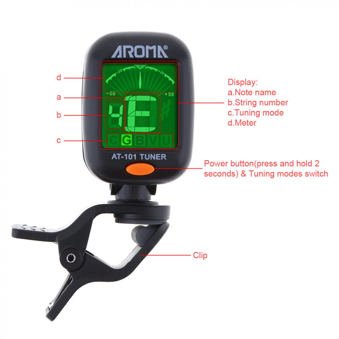 AROMA Mini Clip-on Digital Tuner Foldable Rotating Clip High Sensitivity with Coin Battery for Chromatic Guitar Ukulele