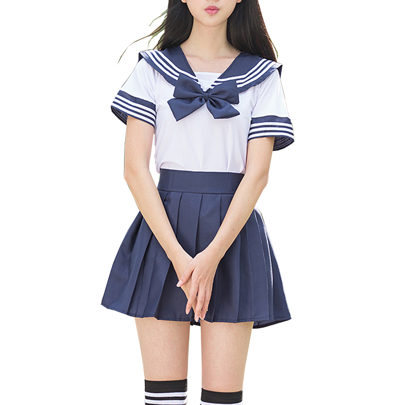 Sailor Suit School Uniform Sets JK School Uniforms For Girls White Shirt And Dark Blue Skirt Suits Student Cosplay