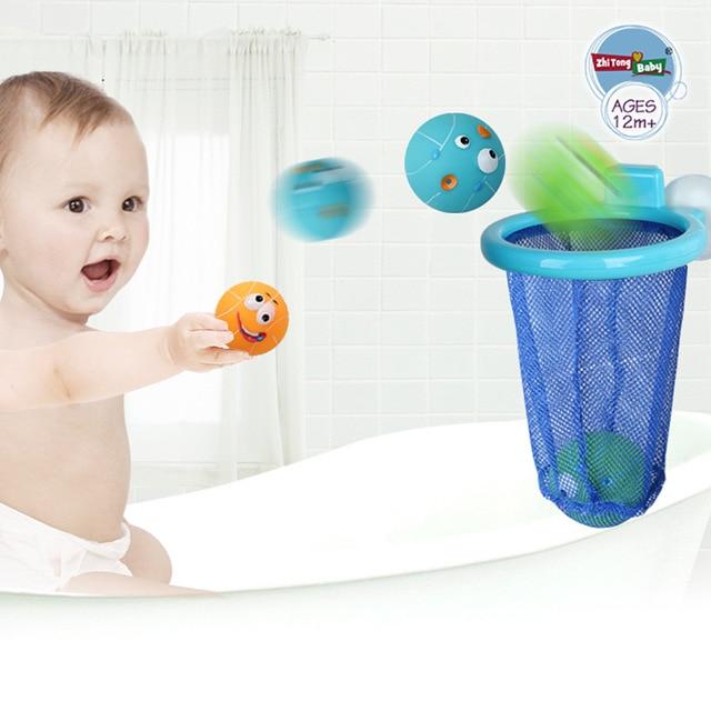 3 Ball and 1 Basket Colorful Joy Water Basketball Toys Baby Bath ...